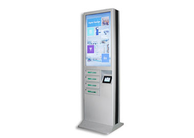 Modern Cell Phone Charging Stations , Phone Charging Locker With 43 Inch Advertising LCD Screen